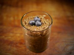 chia pudding! • 1/4 cup of chia seeds • 1 cup of unsweetened almond (or coconut) milk • 5 pitted Medjool dates • 1/2 a vanilla pod • 1/2 a teaspoon of cacao powder • 1/2 a teaspoon of cinnamon • 1/8 of a teaspoon of cloves • 1/8 of a teaspoon of nutmeg • 1/8 of a teaspoon of ground ginger