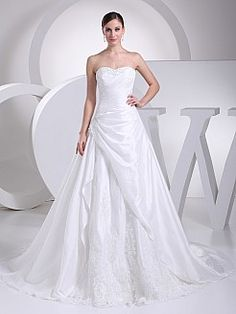 Beaded Strapless Princess Taffeta Wedding Gown with Lace Detail'