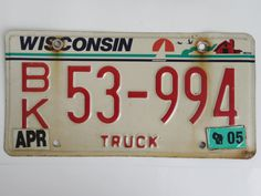 Collectible+Wisconsin+Truck+License+Plate