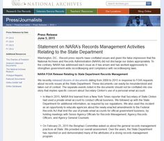 Statement on NARA's Records Management Activities Relating to the State Department Enterprise Content Management, Records Management, National Archives, Press Release, Nara, Activities, Nara Period