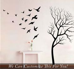 Tree and branches with birds flocking in flight large wall vinyl decal art set of 21 flying birds stickers 2041