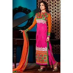 Pink and Orange Faux Georgette Straight Salwar Suit-FA231-6307(FFH-FA231)