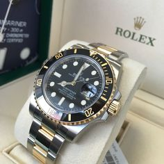 Rolex Submariner Steel & Gold Black 116613LN