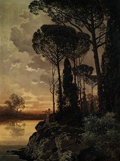 Abendliche Landschaft mit Flötenspieler by Ferdinand Knab