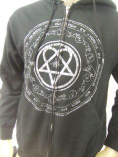 Mens Small Black Him Heartagram 616 Deorsum Rock Band Zip Up Hoodie Sweater | eBay