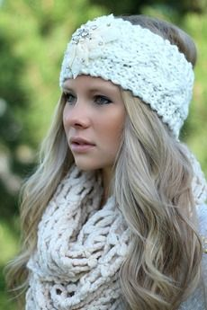 Ivory Knitted Embellished Headwrap Headband