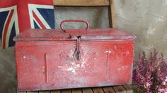 "New to NostalgiqueBoutique on Etsy: Vintage Metal Tool Box Original Red Chippy Paint 14.5"" x 7.5"" (33.00 GBP)"