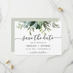 Shop Eucalyptus Green Foliage Save the Date Card created by cardsbyflora. Save The Date Invitations, Rustic Invitations, Save The Date Cards, Zazzle Invitations, Invites, Save The Date Designs, Save The Date Templates, Watercolor Wedding Invitations, Wedding Stationery