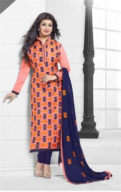 963f88c3ccc Buy Blue And Orange cotton embroidered semi stitched salwar with dupatta  party-wear-salwar-kameez online