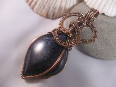 Sparkling Blue Goldstone and Copper Pendant by SignsCapeCodDesigns, $35.00