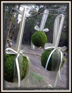 "3 - 6"" Moss Balls WITH RIBBON ATTACHED- Garden Party decor-Wedding favors-Fairy party-Topiary balls-Kissing Balls-Woodland Forest. $45.00, via Etsy."