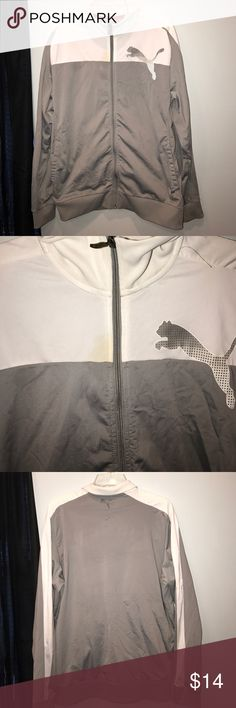 Men's White and Grey Sz L Jacket Puma In excellent condition just tiny flaw. Refer to pictures. Puma Jackets & Coats Lightweight & Shirt Jackets