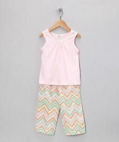 Take a look at this Light Pink Tank & Aqua Chevron Pants - Infant, Toddler & Girls by Jupon on #zulily today!