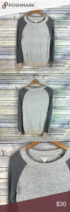 """J. Crew Factory Colorblock Waffle Knit Sweater The perfect neutral colored sweater - light grey, dark grey, and tan. Long sleeved thermal waffle knit style sweater. Merino wool blend. Colorblock. Gently used condition! Measurements: 16.5"""" armpit to armpit, 25.5"""" length shoulder to hem. J. Crew Factory Sweaters"""