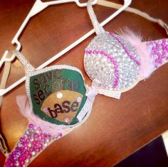 Host a decorate a bra contest with other sororities for breast . Breast Cancer Bras, Breast Cancer Party, Breast Cancer Fundraiser, Breast Cancer Awareness, Bedazzled Bra, Bling Bra, Diy Corset, Decorated Bras, Save The Tatas