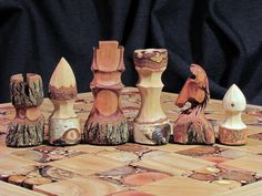 Natural wood chess set