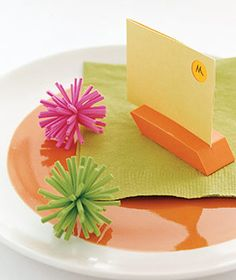 Eraser as place card holder; with post it notes - they could write messages to birthday girl and post on a board on the wall.