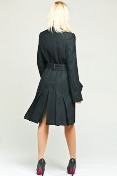 Black elegant woolrich coat with a pleated skirt and by VIEMAstore, $129.00