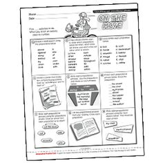 """FREE PREPOSITIONS PRINTABLE~  This """"On The Move"""" activity sheet provided nine activities from which students can select to strengthen their understanding of prepositions and prepositional phrases."""