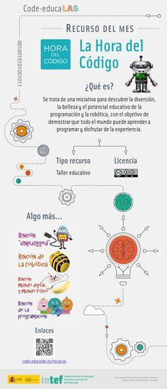 La hora del código. Recurso del mes Code.educaLAB Robot, Bee, Technology, Sons, Reading, School, Thoughts, Tech, Honey Bees