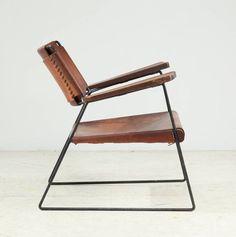 lounge arm chair, iron rod frame, leather, mid century modern, US