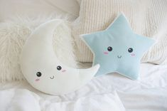 Star and Moon Pillow Cushion Set - Crescent Moon in Ivory & Happy Star in Sky Blue - Celestial Nursery Decor