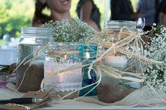 Mason Jars as Centerpieces. Burlap Rustic Wedding: Hugo  Scheid Wedding, Windswept Photo Design