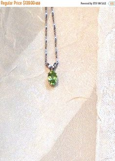 SALE 20% OFF Handmade Peridot Necklace in 14K White Gold by NorthCoastCottage Jewelry Design