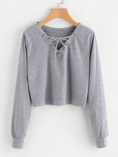 Shop Eyelet Lace Up Sweatshirt online. SheIn offers Eyelet Lace Up Sweatshirt & more to fit your fashionable needs.