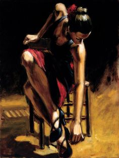 Fabian Perez - Dancer in Red Skirt Painting