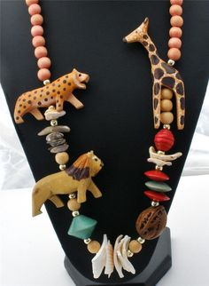Statement Figural Necklace Lion Giraffe Leopard Carved Wood Shell Bead Vintage | eBay