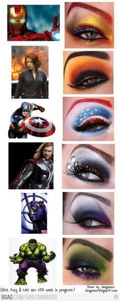 Marvel's The Avengers Superhero-Themed Eye Shadow Makeup Designs via 9Gag.Com --- The Captain America one also works for DC Comic's Wonder Woman! Would be great paired with a Halloween costume or cosplay outfit in general. (cc: @Nollie / @Nollie38)