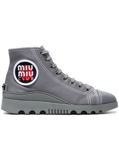 Miu Miu Tronc Gabardine Hi Top Sneakers Low Cost Sale Online Free Shipping Official Site KB9ee
