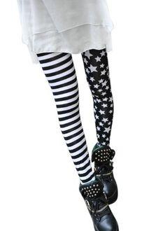 0a9dd4e57db3a2 Asoidchi 2014 Ladies Girls Elastic Stitching Stars Stripes Leggings Tights  Pants