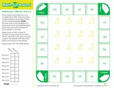 Fourth grade math worksheets help to develop the math concepts. Print fourth grade math worksheets to help your kids improve math. Printable Board Games, Printable Worksheets, Free Printables, Homeschool Worksheets, Fourth Grade Math, First Grade Math, Sixth Grade, Math Stations, Math Centers