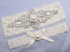 Ivory Bridal Garter Set Crystal Rhinestone