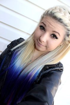 blonde dip dyed hair, blonde hair blue tips, dip dye hair, dye Blonde Hair With Blue Tips, Purple Hair, Ombre Hair, Dyed Tips, Hair Color And Cut, Dye My Hair, Girly, Love Hair, Pretty Hairstyles