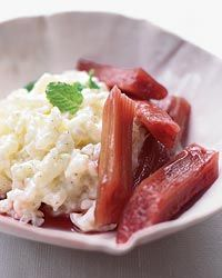 Rice Pudding with Poached Rhubarb  This vanilla-flecked rice pudding is exceptionally easy and exceptionally delicious, thanks to the tangy rhubarb. Krista Desjarlais gently poaches the stalks in red wine, sugar, lemon juice and cinnamon. Perfect on the pudding, the rhubarb would be equally good with Greek yogurt.
