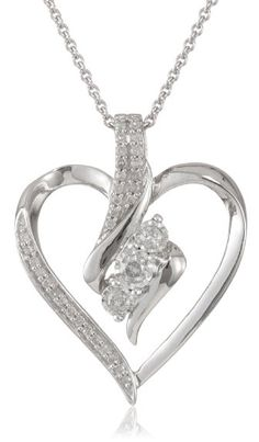 """Sterling Silver Diamond Heart Pendant Necklace (1/4 cttw, I-J Color, I2-I3 Clarity), 18"""""""