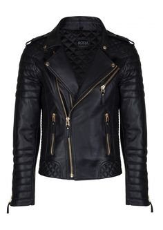 This has got to be one of the most well designed, and beautifully crafted classic MC jacket! Kay Michael's Quilted Biker (Gold Hardware)