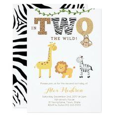 Jungle 2nd Birthday Invites Monkey Giraffe Zebra Card - invitations custom unique diy personalize occasions
