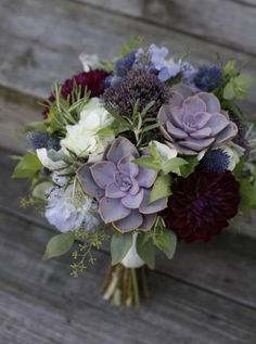 Succulents in bouquet