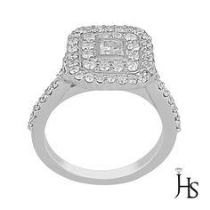 14K White Gold 0.90 Cts Center Princess & Round Diamond Double Halo Ring G-H/SI #WomensFancyFashionRingJewelryHotspot