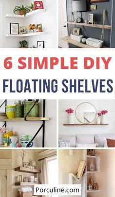 White Shelves, Floating Shelves Diy, Bookshelves, Ladder Decor, Repurposed, Home Goods, Easy Diy, Diy Projects, Make It Yourself