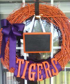 Clemson Tigers Wreath https://www.facebook.com/CrystalsCreativeObsession