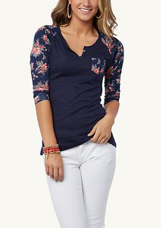 image of Floral High Low Raglan Top