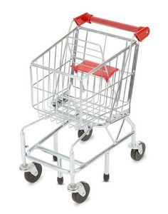 Shopping Cart Toy - Metal Grocery Wagon: Fun on aisle five! With sturdy metal construction and pivoting front wheels, this kid-size metal shopping cart toy is the perfect addition to your play grocery store. Our mini grocery wagon is easy to maneuver, fun to fill, and built to last for years of pretend play!