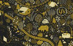 Monkey & Bear (black) Art Print