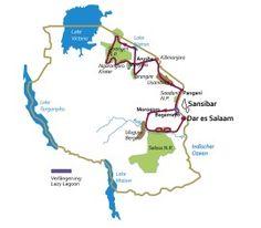 """So sieht der Reiseverlauf unserer großen, 20 tägigen Tansania Reise """"Usambara"""" aus. Maximal 7 Teilnehmer sind hier mit einem deutschen Reiseleiter unterwegs."""