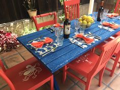 Furniture Flip: Nautical Picnic Table Makeover Who's ready for some fine outdoor dining? Everyone is invited to sit at our